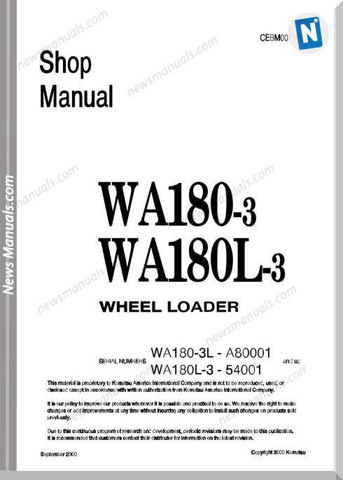 Komatsu Wheel Loaders Wa180L-3 Shop Manual