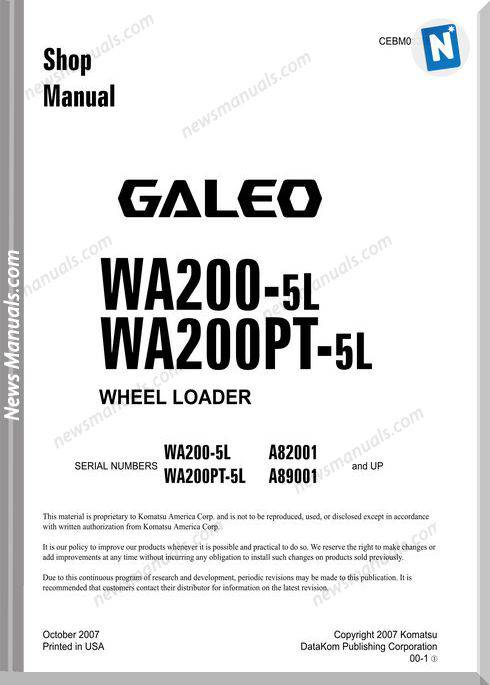 Komatsu Wheel Loaders Wa200-5 Shop Manual