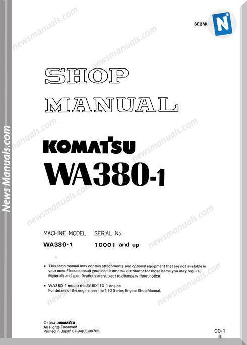 Komatsu Wheel Loaders Wa380-1 Shop Manual