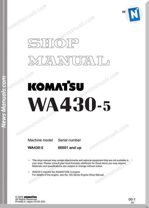 Komatsu Wheel Loaders Wa430-5 Shop Manual
