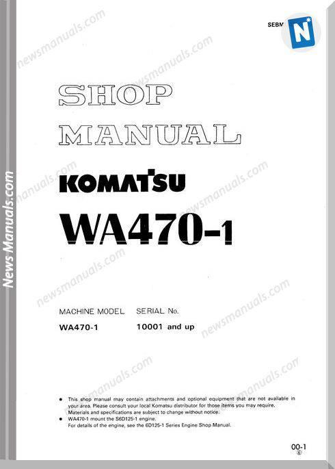 Komatsu Wheel Loaders Wa470-1 Shop Manual