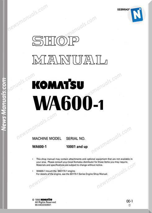 Komatsu Wheel Loaders Wa600-1 Shop Manual