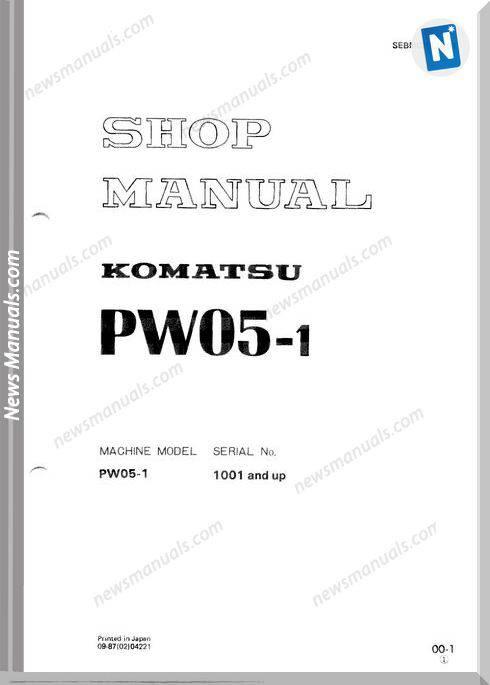 Komatsu Wheeled Excavators Pw05-1 Shop Manual
