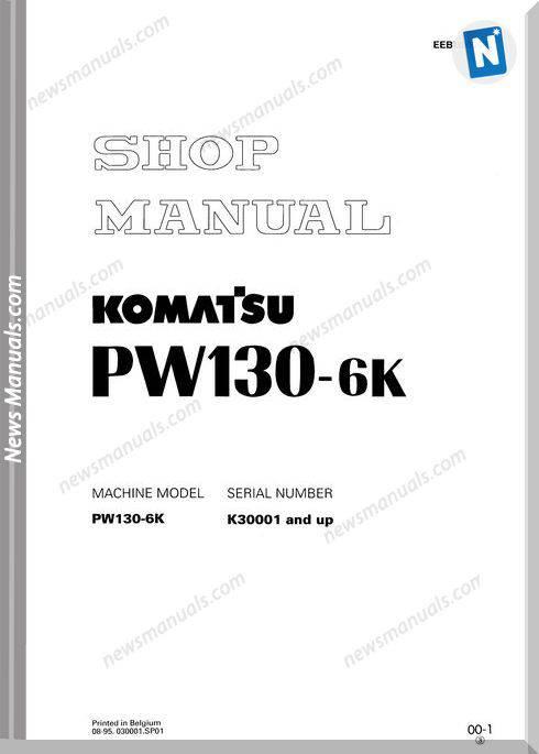 Komatsu Wheeled Excavators Pw130-6 Shop Manual