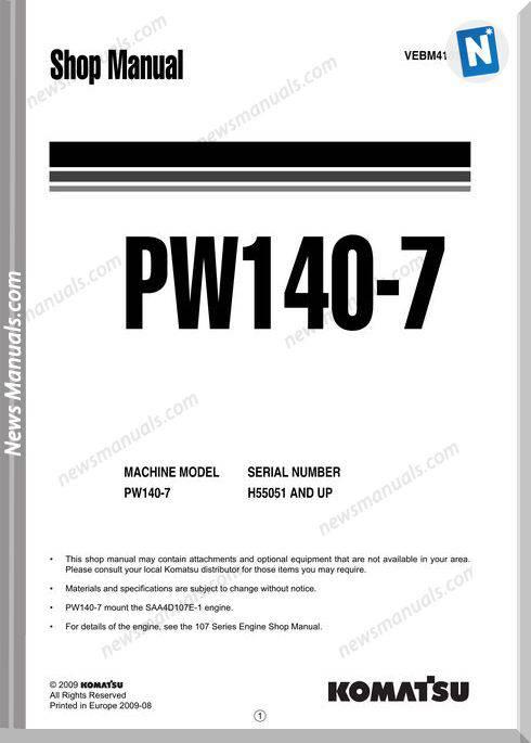 Komatsu Wheeled Excavators Pw140-7 Shop Manual