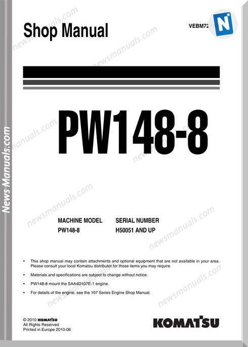 Komatsu Wheeled Excavators Pw148-8 Shop Manual