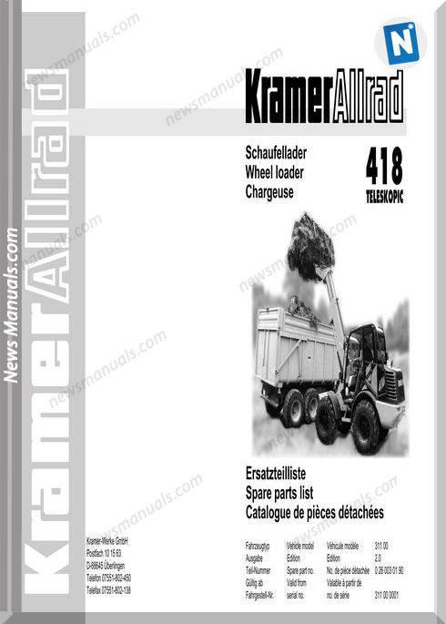Kramer 418 Teleskopic Serie 1 Spare Parts