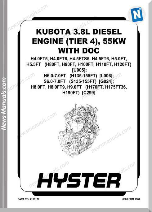 Kubota 3.8L Diesel Engine 55Kw With Doc Service Manual