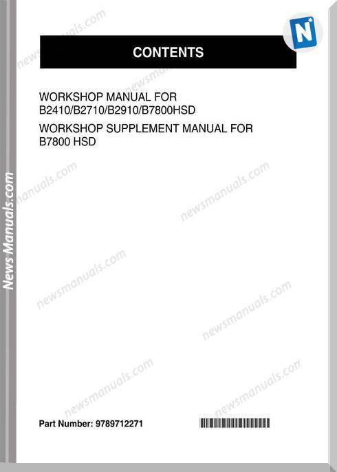 Kubota B7800 Series Workshop Manual