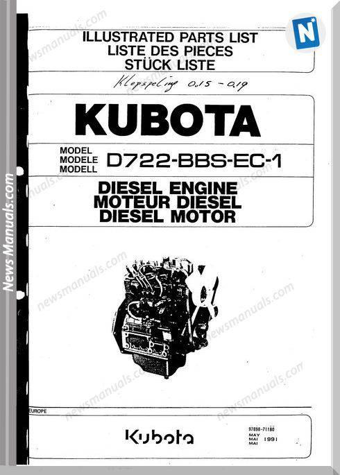 Kubota Diesel Engine D722-Bbs-Ec-1 Parts List