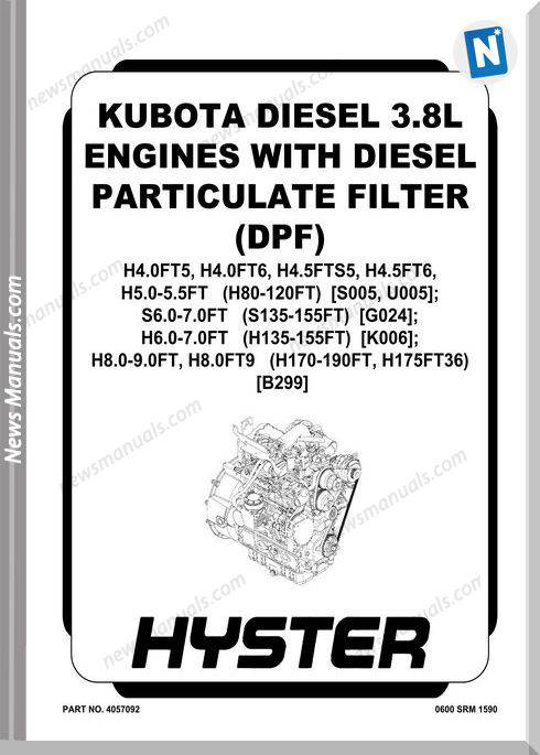 Kubota Diesel Engines 3.8L H4X H5X S6 H8 Service Manual