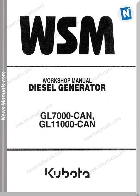 Kubota Diesel Generator Gl7000 Gl11000 Workshop Manual