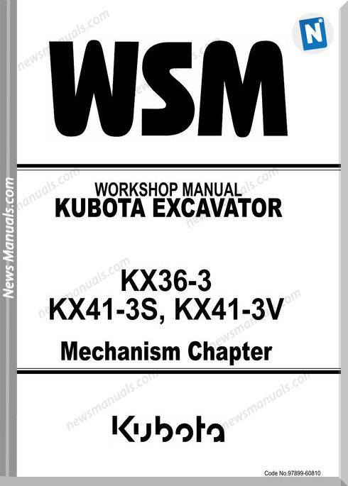 Kubota Excavator Kx41-3V Mechanism Workshop Manual