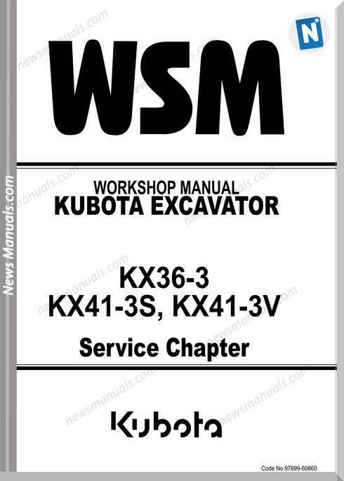 Kubota Excavator Kx41-3V Service Workshop Manual
