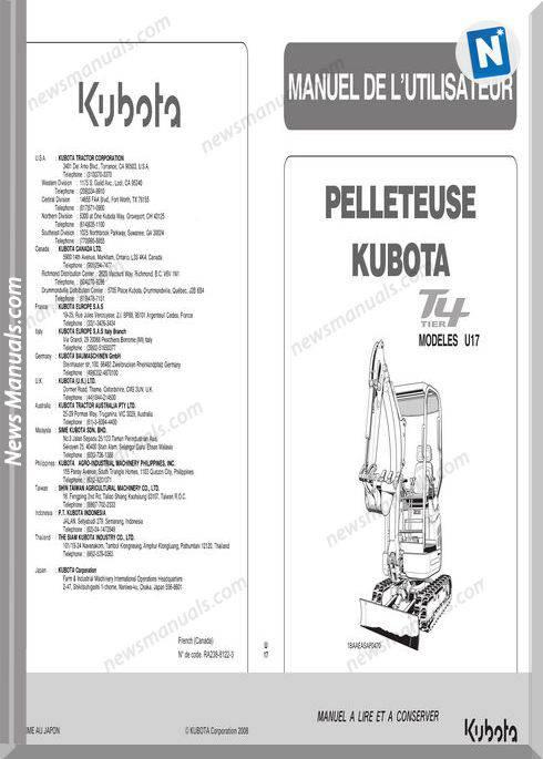 Kubota Excavator Serie Ops U17 Workshop Manual