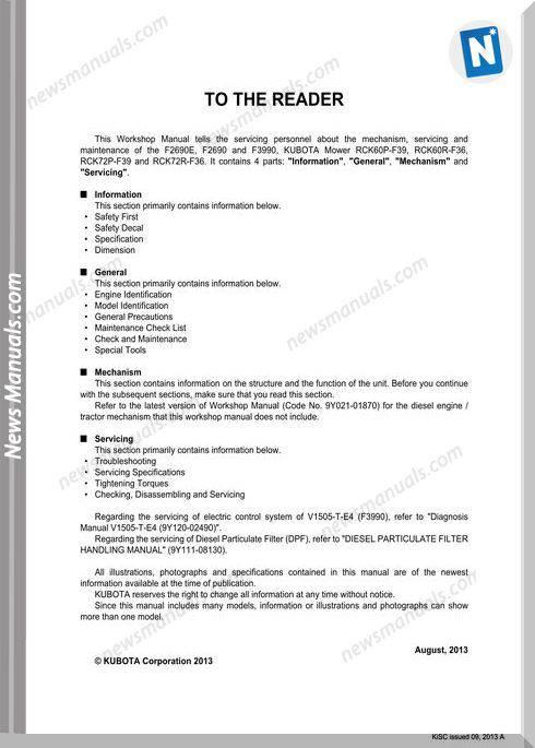 Kubota F2690 Series Workshop Manual