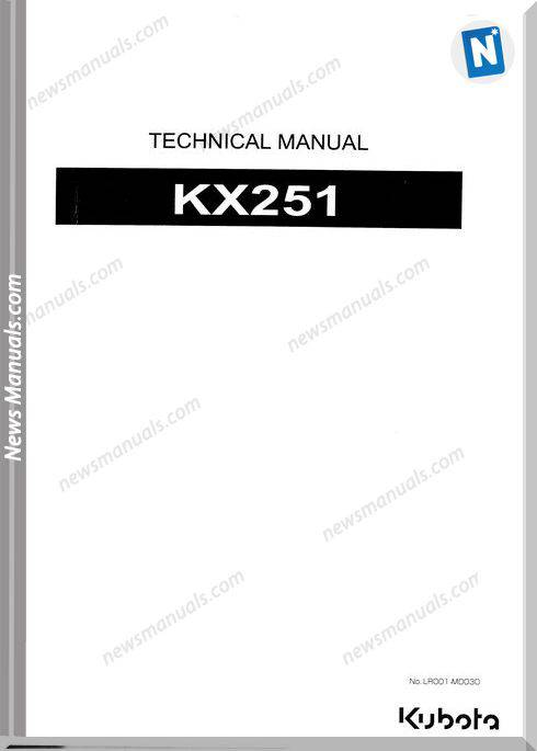 Kubota Kx251 Technical Manual