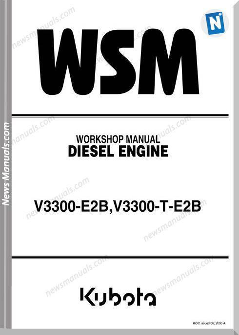 Kubota V3300-E2B, V3300-T-E2B Engine Workshop Manual