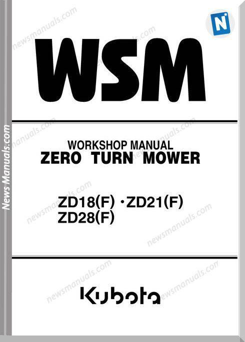 Kubota Zd18 Zd21 Zd28 Series Workshop Manual