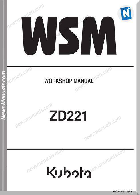 Kubota Zd221 Anglais Series Workshop Manual