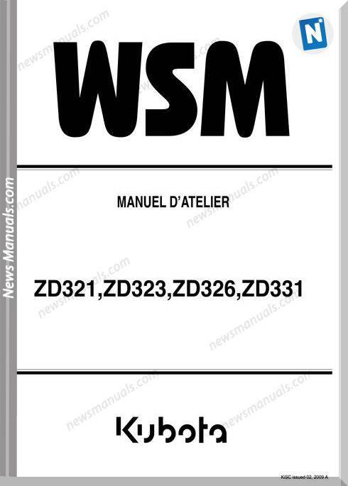 Kubota Zd321,Zd323,Zd326,Zd331 Francais Workshop Manual