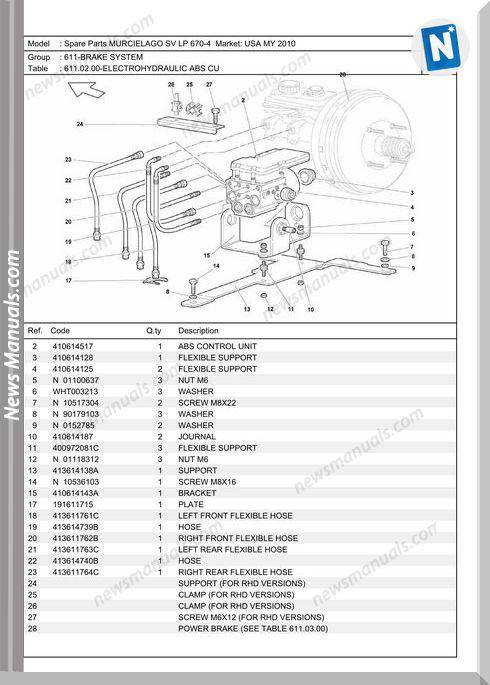 Lamborghini Murcielago Sv Lp670-4 2010 Workshop Manual
