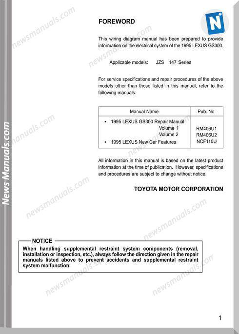 Lexus Gs300 1995 Wiring Diagram Manual Electrical