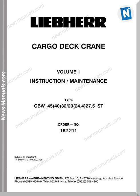 Liebherr Cbw 45(40)32-20(24,4)27,5,5 Maintenance Manual