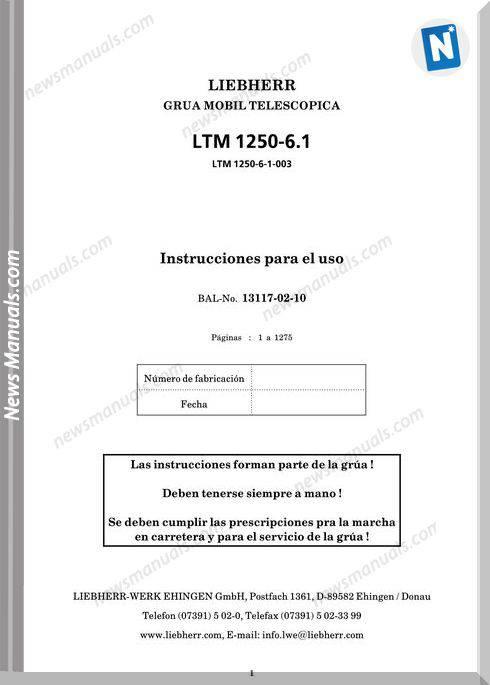 Liebherr Crane Ltm 1250-6.1 Instruction Manual Esp