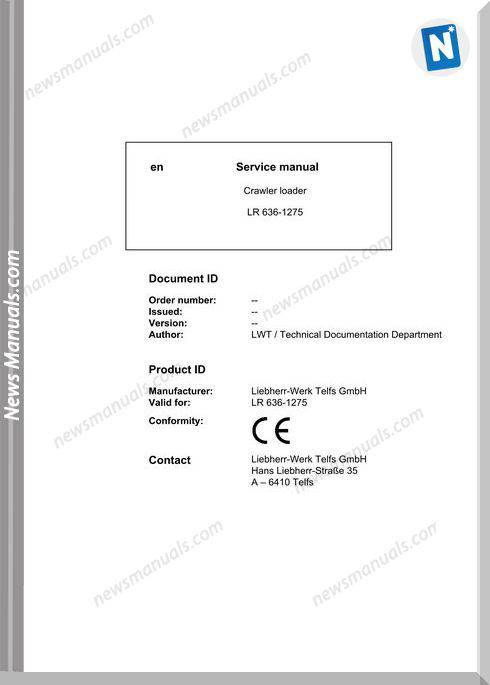 Liebherr Crawler Loader Lr 636 1257 Service Manual