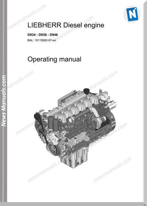 Liebherr D934-D936-D946 Diesel Engine Operators Manual