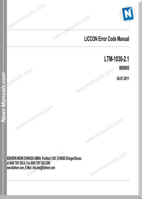 Liebherr Mobile Crane Ltm 1030-2.1 Liccon Error Codes