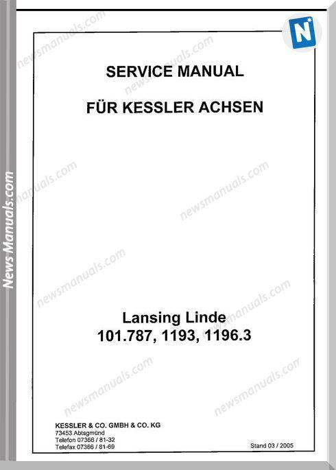 Linde 101 787 1193 1196 Service Manual