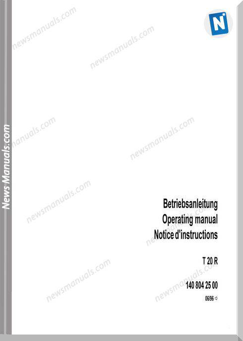 Linde T20R Models German Language Operating Instructions
