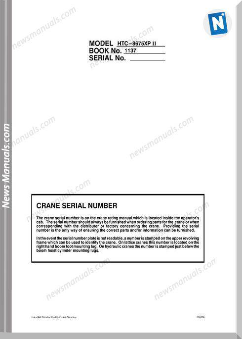 Linkbelt 8675Xp Ii Shop Manual