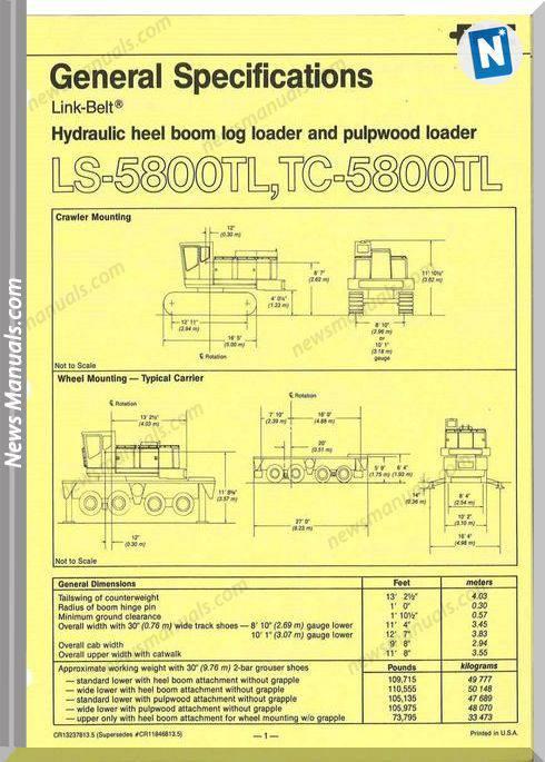 Linkbelt Excavator Tc5800 Lx Tl Shop Manual