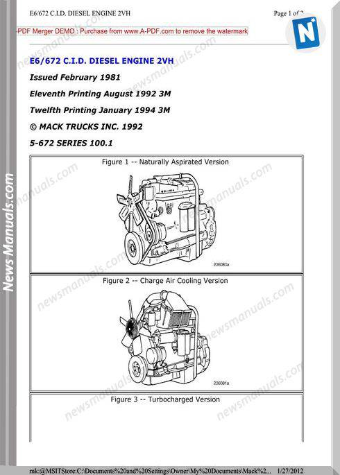 Mack E6 Diesel Engine 2Vh Manual