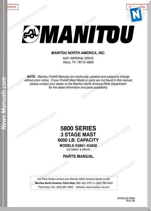 Manitou 5800Series Parts Manuals