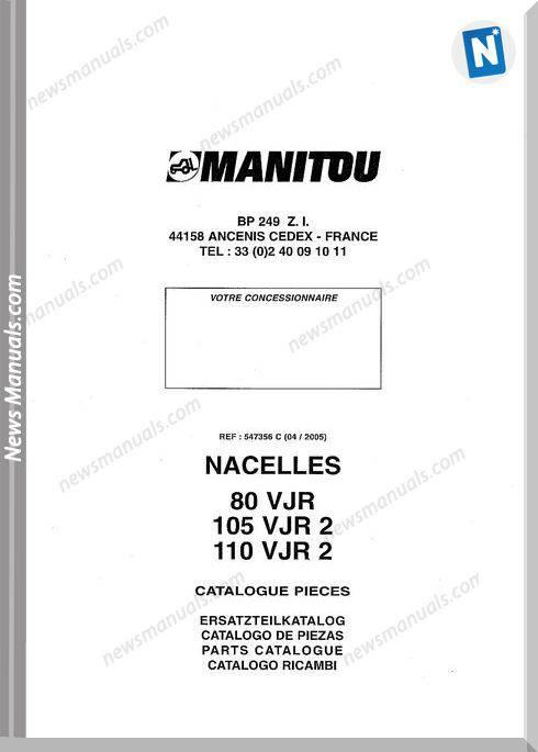 Manitou Forklift 80Vjr-105Vjr2-110Vjr2 Parts Manual