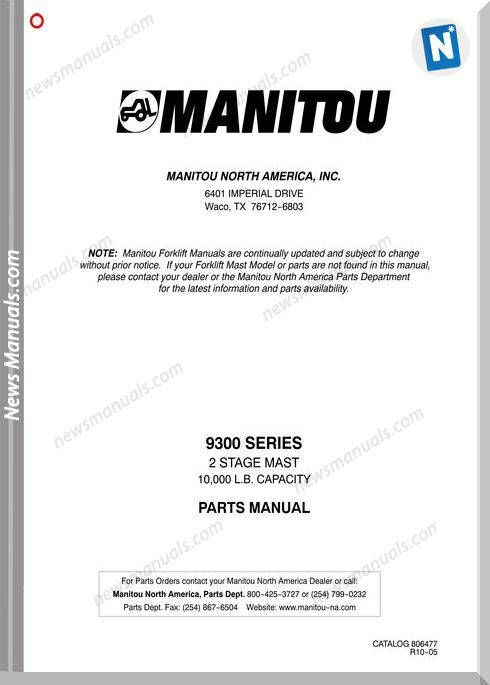 Manitou Forklift 9300Series English Parts Manual