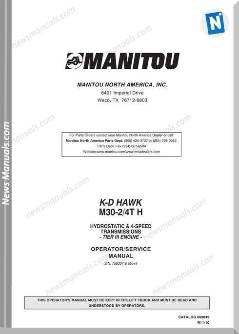 Manitou Forklift M30-809849 Rev11-10 Operator Manuals