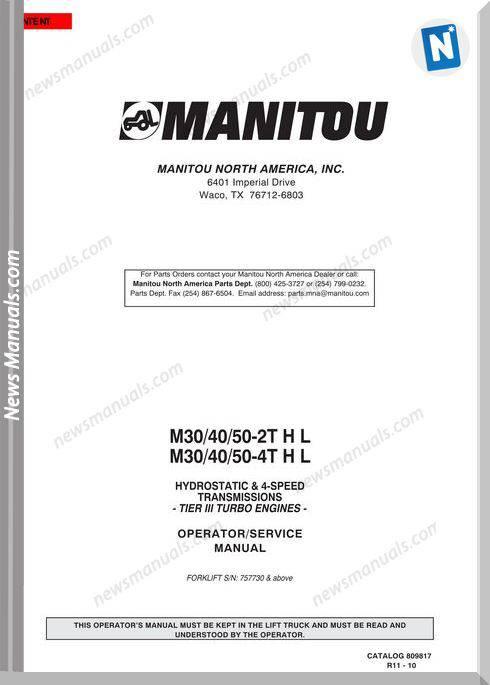 Manitou Forklift M30,M40,M50-2-4-T3-11 Operator Manual