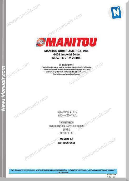 Manitou Forklift M30,M40,M50-7565Xx Operator Manuals