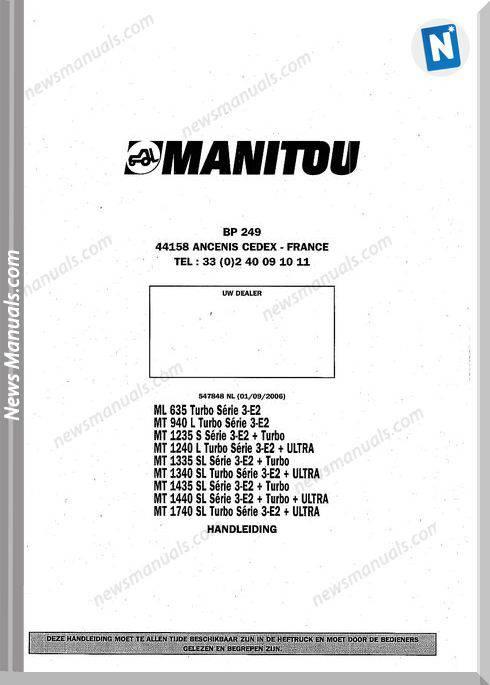 Manitou Forklift Ml635, Mt940-1740 547848Nl Parts Manual