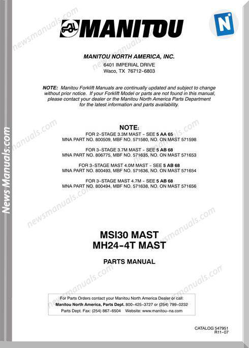 Manitou Forklift Msi30D,Mh25-4-201431 Parts Manuals