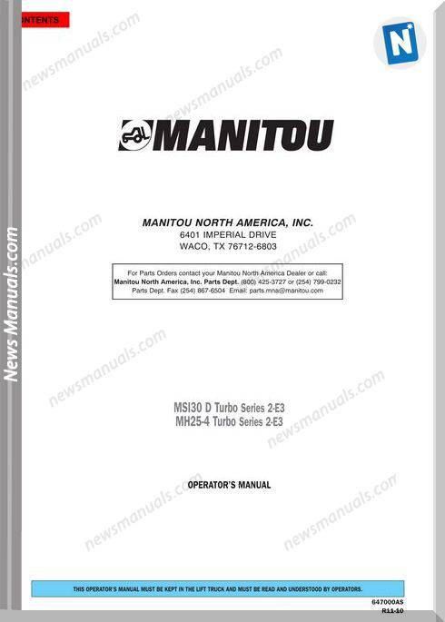 Manitou Forklift Msi30D-Mh25-4-254496 Operator Manuals
