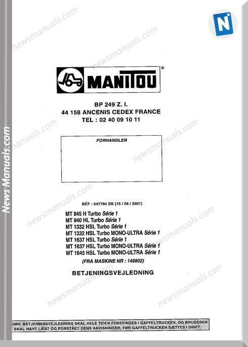 Manitou Forklift Mt845-1645 547794Dk Parts Manual