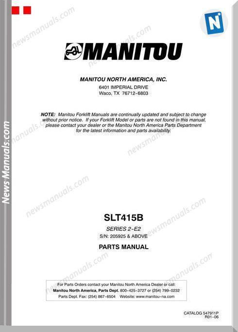 Manitou Forklift Slt415Brev.01-06 Models Parts Manual