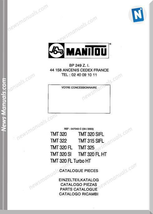 Manitou Forklift Tmt320,523 547043C Parts Manual