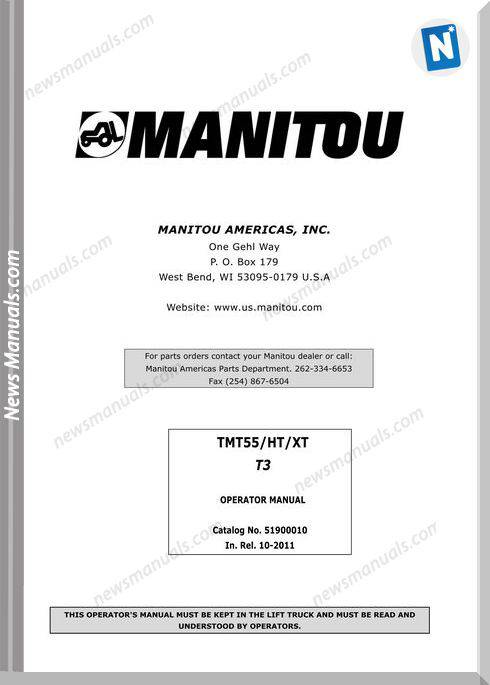 Manitou Forklift Tmt55Ht-Xtt3-51900010 Operator Manuals